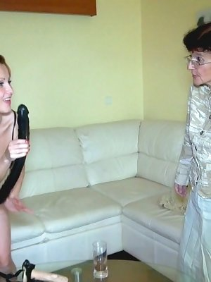 90 year old grandma getting to know double dildo