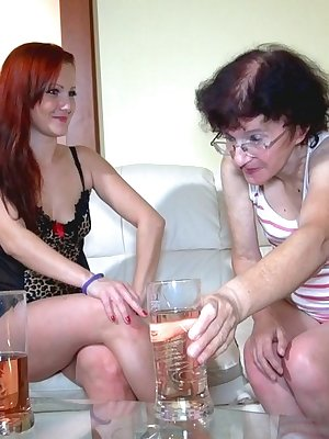Very old grandma having sex with hot redhead lesbian