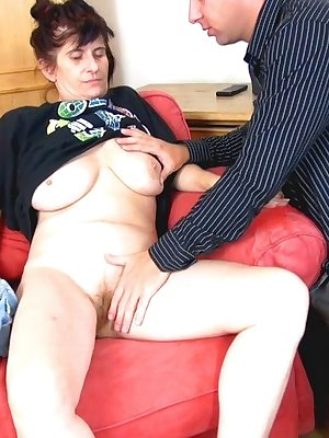 Hot older lady sucking dick together with her girlfriend