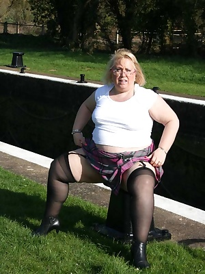 Here I am out flashing by the canal  lock, after climbin gover the gate wind blowing all around my pussy I leaned agains
