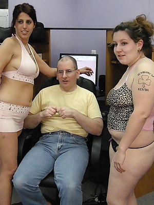 My friend Chloe and I decide to give Logan a real treat by giving him a two girl blow job. He is one happy geek by the t