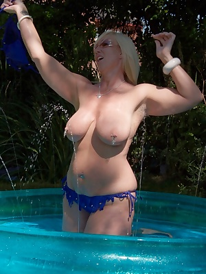 Larking about in my pool on the hottest day of the year. Melody x