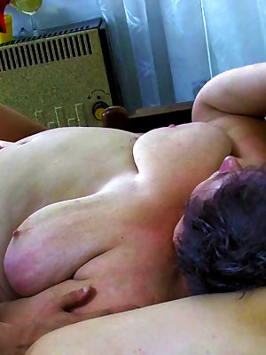 Chubby grandma in hot threesome with younger couple