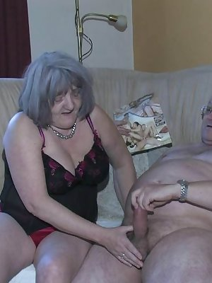 An old lady fucking with younger couple