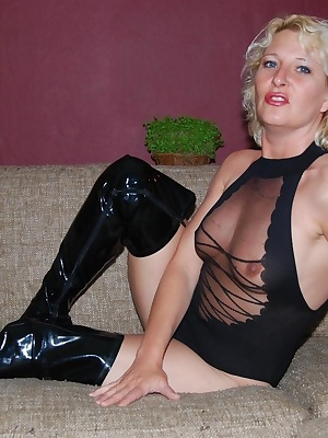 Horny MILF housewife Keesje showing her black sexy see-through body stocking and
