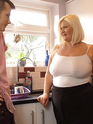 BBW blonde mature lady busty cougar is horny for having fun with cocks