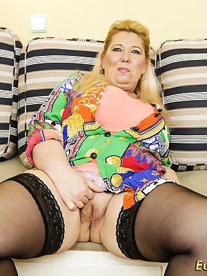 Older chubby granny blonde pleasing her old unshaved pussy with toys