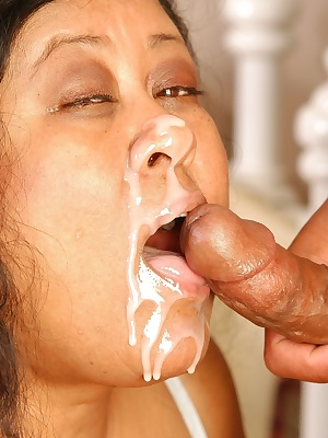Obese older woman Debrina eating sperm off fingers after cum facial