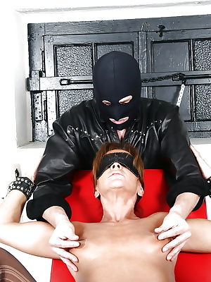 Blindfolded mature woman Lady Sarah having nipple clamps affixed to nipples