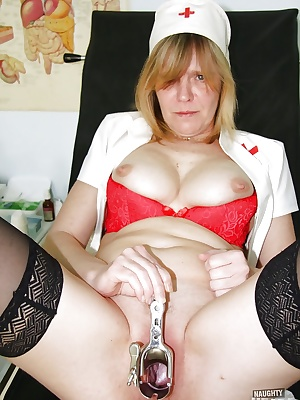 Mature Nurse in Stockings Spreading her twat for naughty Pussy Play