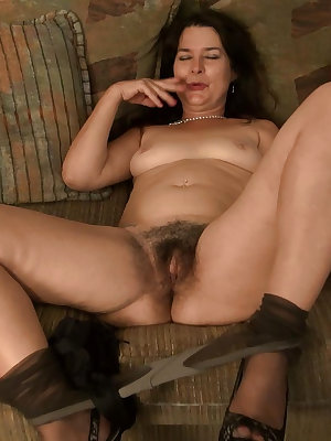 Old mature fucking her hairy holes with sex toy