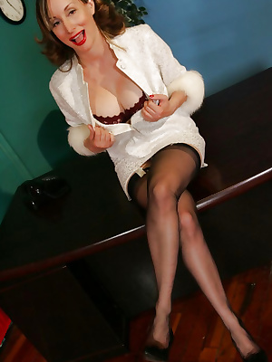 Mature secretary with big boobs