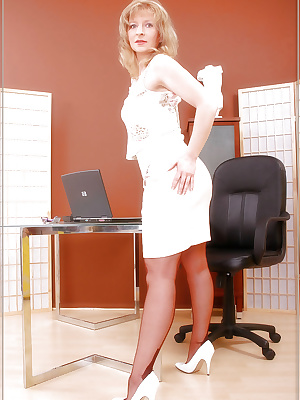 Secretary MILF in genuine stockings