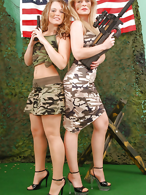 Military girls in stockings