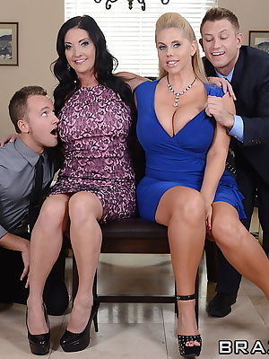 Karen Fisher and Sammy Brooks: Chubby matures with sensationally appetitive boobs