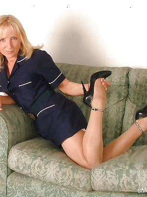 Nurse strips down to pantyhose