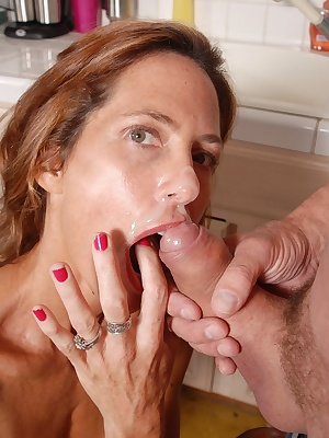 Older lady Sherry takes a cumshot on tongue after giving blowjob