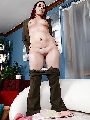 Older MILF Crystal Rayne undressing for spreading of shaved pussy