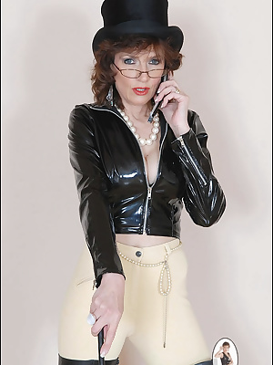 Lady Sonia: Horny mature dressed in jockey outfit