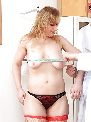 Older blonde lady in stockings Susan undergoing gyno doc's fetish kinks