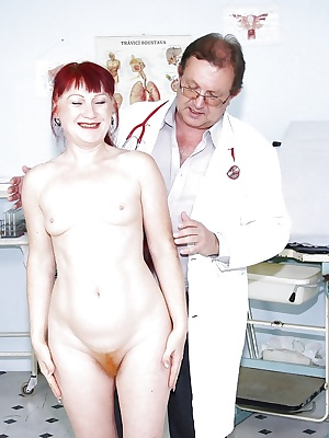 Mature gal's visit to the gyno gets up close & hairy with spread pussy