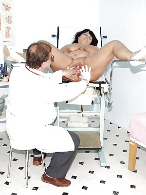 Chubby Mature enjoys her cunt being violated at the OBGYN's office