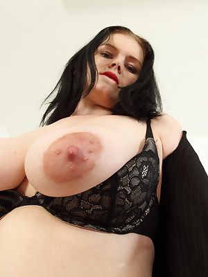Naughty British mom loves showing off her big boobs