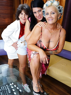 These three old and young lesbians have a very wild and steamy evening