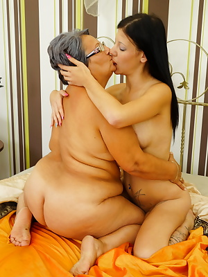 Naughty BBW lesbian getting seduced by a young babe