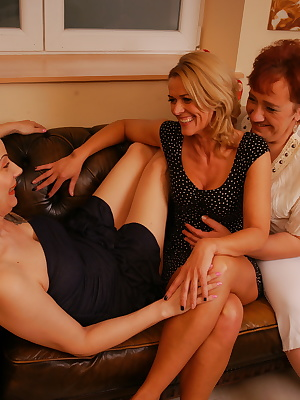 Three lesbian housewives playing in the livingroom