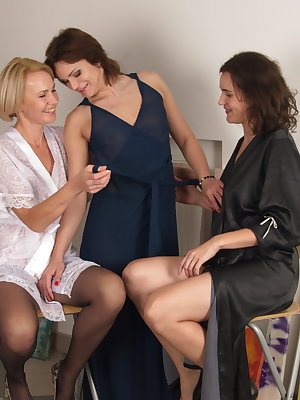 Three horny housewives sharing one hard cock