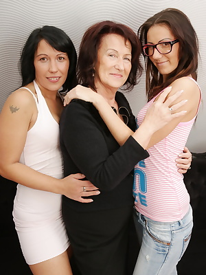 Three old and young lesbians having great fun