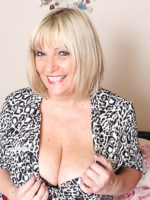 British housewife with great tits playing alone