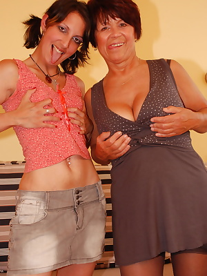 Horny old and young lesbians licking eachother