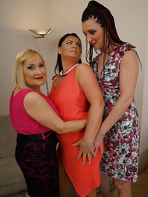Three naughty housewives getting wet on the couch