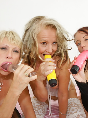 Two old sluts play with a fresch cherry babe